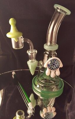 Heady Glass Dab Rig Banger Hanger Carb Cap Dabber Quartz Slyme Slime Pencil Set!