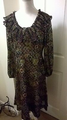 Vintage Kati Laura Philips Navy Floral Dress Size 14