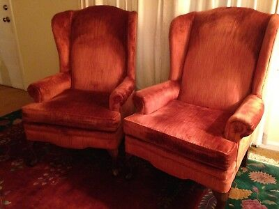 Pair of Queen Anne Style Wing Back Upholstered Chairs
