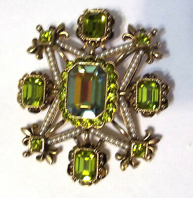 Large Brooch Pendant Light Blue & Peridot Green Foiled Glass Stones Faux Pearls