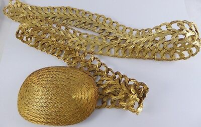Handmade Gold Tone Woven Wire Chain Belt Made in Greece