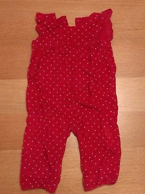 Baby girl red dungarees GAP 12-18 months white dots polka 1-1.5 Christmas frills