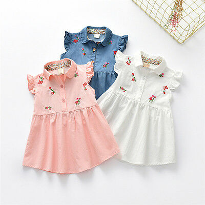 Toddler Kid Baby Girls Flower Embroidery Sundress Romper Skirt Clothes 2-5Y