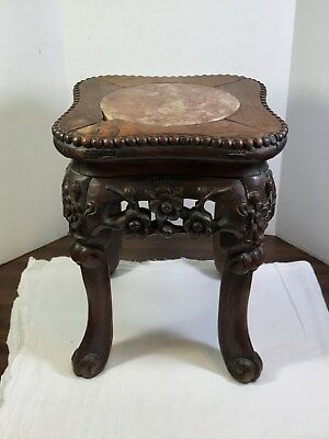 Antique Chinese Plant Stand Table Carved Wood Marble Top Insert Vintage