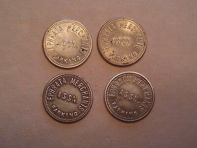 4 brass EPHRATA MERCHANTS ASSN. PARKING TOKENS, EPHRATA,PA  FREE SHIP IN USA