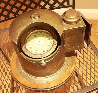Old Maritime Brass Sestrel Compass Binnacle