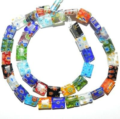 """G3383f Assorted Color Multiple Flower 10mm Rectangle Millefiori Glass Beads 15"""""""