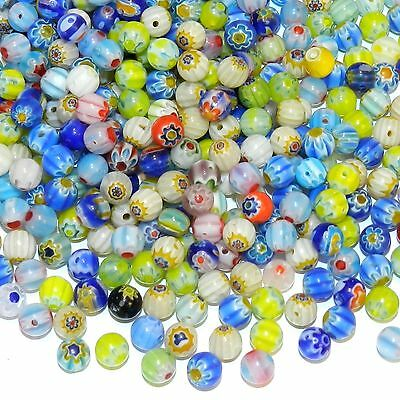 GXL3453 Assorted Color Single Flower 6mm Round Millefiori Glass Mixed Bead 250pc