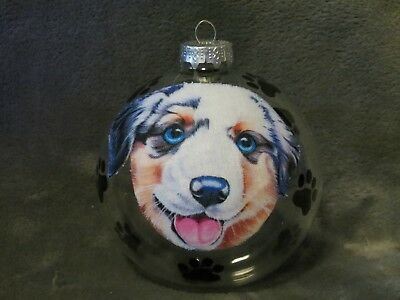 "Hand Made Austrailian Shepherd Puppy  Dog 4"" Glass Christmas Ornament/ball"
