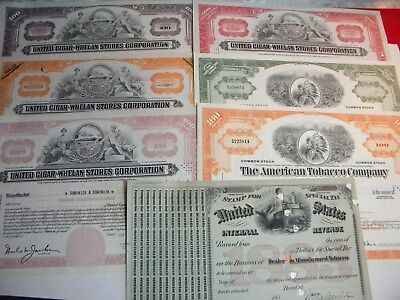 Tobacco Cigar Stock Certificate Lot , ( 6 ) Total , Plus ( 1 ) Tobacco Revenue S