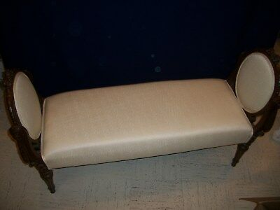 "Antique Settee. Bedroom or Hall.  Newly Upholsterd in White Fabric.  51""L X 17""W"