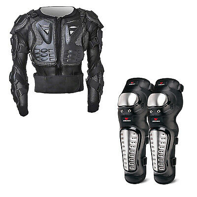 NEW Motorcycle Motocross Body Armour Gear (Size S to XXL) with Knees Guard Shin