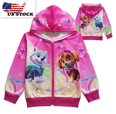 Childrens Kids Girls Paw Patrol Pocket Zip-Up Hoodie Jacket Sweatshirt K56