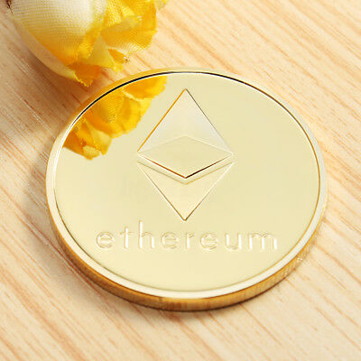 Gold Plated Ethereum Coin Coins Collectible Mteal Art Antique Coins Gift Deco