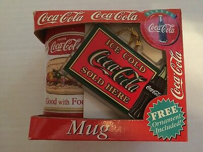 1997 Coca Cola Coke Good With Food Coffee Mug Cup Christmas & Ornament New