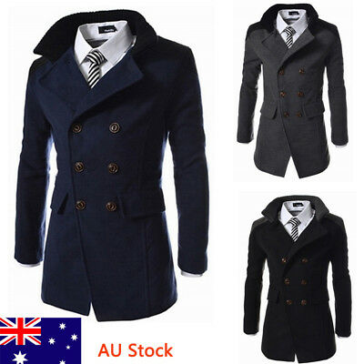 AU Men Winter Trench Coat Boys Double Breasted Overcoat Stylish Business Jacket