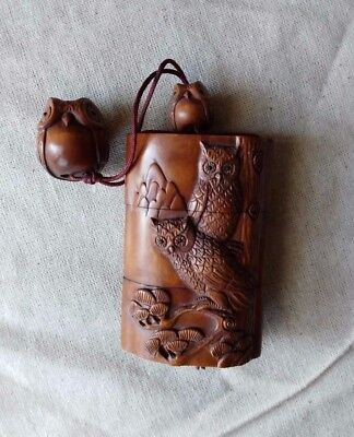 Japanese Carved Boxwood Owl Inro