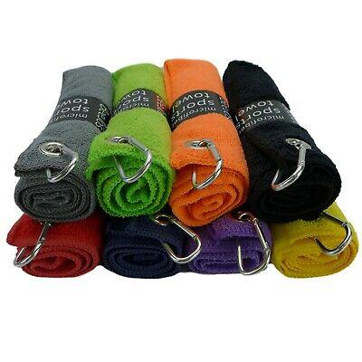 """3 pack of black & colored microfiber golf towels 16"""" X 16""""  with carabiner clip"""