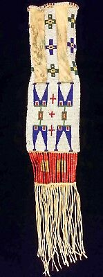 Lakota Sioux Beaded & Quilled Hide Tobacco Bag c. 1885