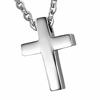"18"" Polished Stainless Steel Cross Religious Pendant Mens Womens Chain Necklace"