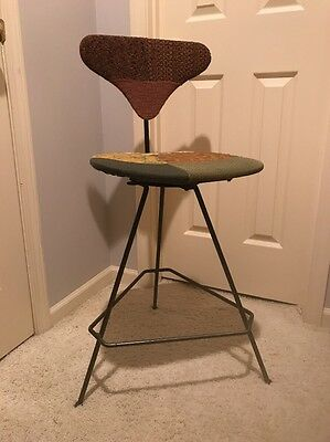 Mid Century Modern Wrought Iron Bar Stool with Vintage Patchwork Fabric SENG