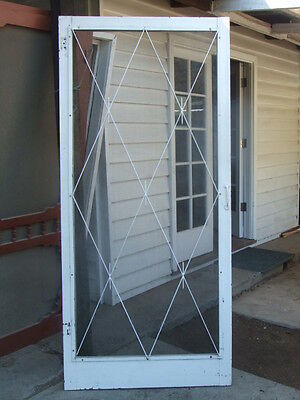 Old Red Pine TIMBER FLY SCREEN Flywire DOOR Decorative Wrought Iron face House