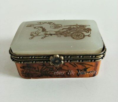 Collectible China Handwork Inlay Jade Carving carriage decoration Collect Box