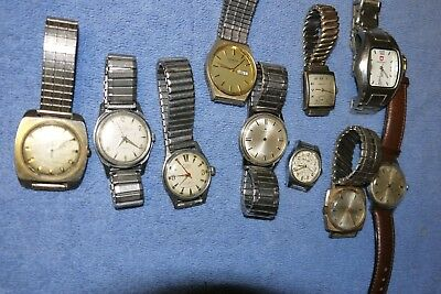 Lot Of Vintage Mens Watches Embe Elgin Hamilton Benrus Gruen Manual Automatic