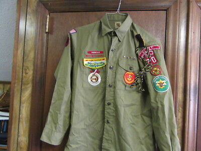 1970's Boy Scout Uniform From Olney, NC, Red Beret, & accessories      Bs1122