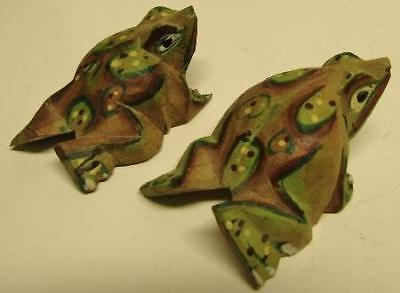 2 CARVED WOODEN FROGS / HAND PAINTED Very Light Wood FROG PAIR