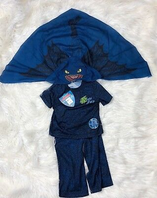 How To Train Your Dragon Toddler 3-Pc Blue Nightfury Toothless Pajama 2T 5T New