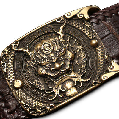 Vintage Solid Brass Men's Belt Buckle Domineering Dragon Chinese Style