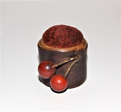 RARE ANTIQUE SEWING PRIMITIVE! Handmade Wooden Cherries VTG VICTORIAN PINCUSHION