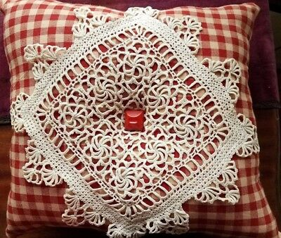 Antique Crochet Lace Doily Pillow Red Bakelite Button French Country Hand Made