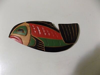Canada Northwest Indian Tribe Kwakiutl artist GEORGE MATILPI Fish Free Shipping