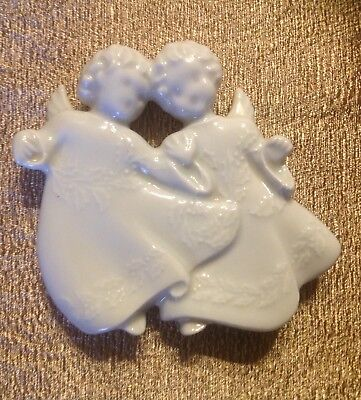 1982 Haviland Limoges White Porcelain Christmas Ornament Angels France