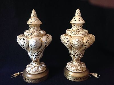 Pair of Matching Vintage Hand Painted  Accent Lamps