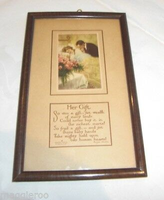 HER GIFT w Baby & Mother & Father Picture Print Poem Framed Vintage C Squires