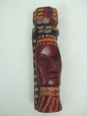 """Hand Carved Solid Wood Jamaican Girl Woman Head Statues Figurine 8 1/4"""" Tall"""
