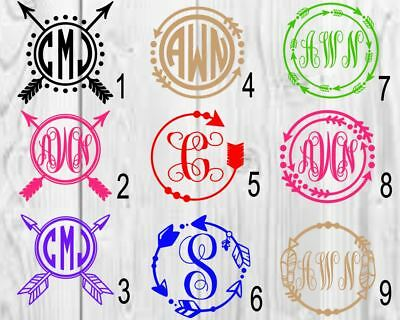 Personalized Monogram Vinyl Decal 3inchx3inch Anchor//Name