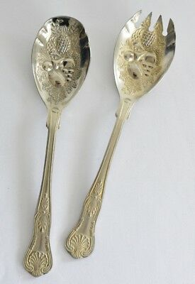 2 Pc Silver Plated Berry Spoons/Salad Servers~Kings Pattern-Repoussé-vintage
