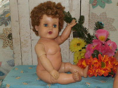 "1960's Estrela Toodles Multi Jointed Chuncky 22"" All Vinyl Thick Curls Baby Doll"