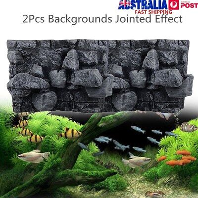 60x45cm 3D PU Rock Stone Reptile Aquarium Fish Tank Background Board Plate Decor