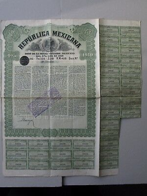 1910 Republica Mexicana Bono Deuda Exterior 4% £20 $97 Gold bond Mexico