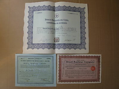 3 Latin America bonds: 1916 Mexico Gold Bond, 1911 BRAZIL, 1956 Banco Nacional