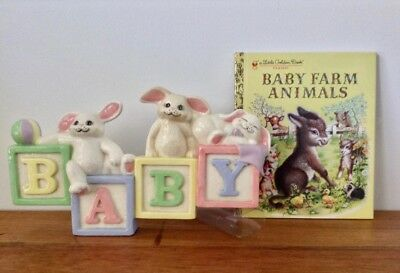 Vintage Baby Nursery Set Handmade Ceramic Bunny Art & Little Golden Book So Cute