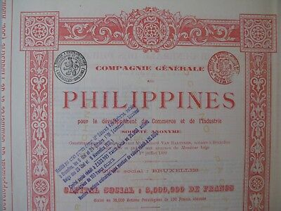 Compagnie Génerale des Philippines 1899 Share certificate Belgium All coupons