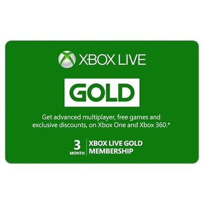 3 Month Xbox Live Gold Membership Subscription , Same Day Use , Xbox One or 360