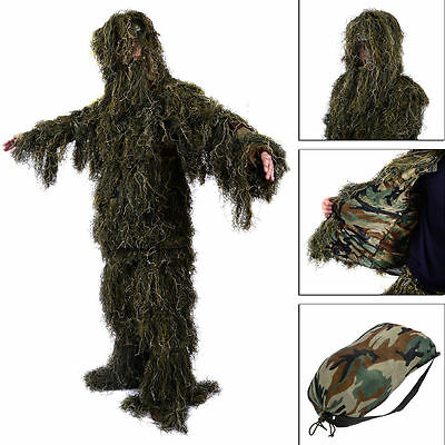 New Ghillie Suit M/L Camo Woodland Camouflage Forest Hunting 3D 4-Piece + Bag YJ