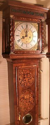 """Antique Walnut Floral Marquetry """" London """"  Longcase / Grandfather Clock"""